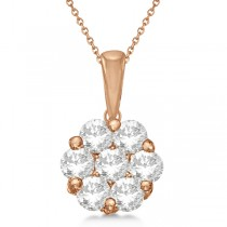 Diamond Clusters Flower Pendant Necklace in 14k Rose Gold 1.00ct