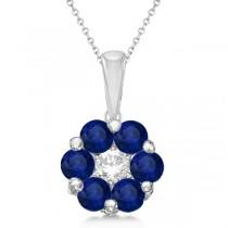 Flower Diamond & Blue Sapphire Pendant Necklace 14k White Gold (1.40ct)