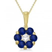 Flower Diamond & Blue Sapphire Pendant Necklace 14k Yellow Gold (1.40ct)