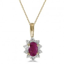 Oval Ruby & Diamond Flower Shaped Pendant Necklace 14k Yellow Gold