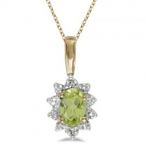 Oval Peridot & Diamond Flower Shaped Pendant Necklace 14k Yellow Gold
