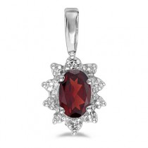 Oval Garnet & Diamond Flower Shaped Pendant Necklace 14k White Gold