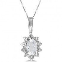 Oval White Topaz & Diamond Flower Shaped Pendant Necklace 14k W Gold