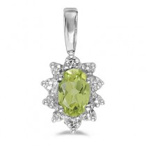 Oval Peridot & Diamond Flower Shaped Pendant Necklace 14k White Gold