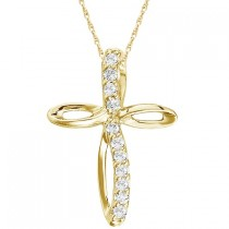 Swirl Diamond Cross Pendant Necklace in 14k Yellow Gold (0.10ct)