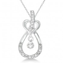 Heart Knot Teardrop Diamond Pendant Necklace 14k White Gold (0.20ct)