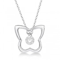 Butterfly Shaped Diamond Pendant Necklace 14K White Gold (0.10ct)