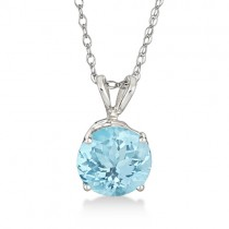 Antique Art Deco Aquamarine Pendant Necklace 14k White Gold (1.25ct)
