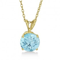 Antique Art Deco Aquamarine Pendant Necklace 14k Yellow Gold (1.25ct)