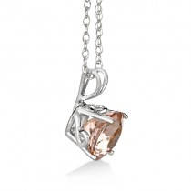 Antique Art Deco Morganite Pendant Necklace 14k White Gold (1.25ct)