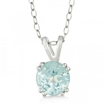 Round Aquamarine Solitaire Pendant Necklace Sterling Silver (1.25ct)