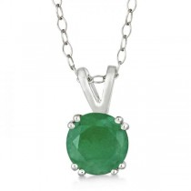 Round Emerald Solitaire Pendant Necklace Sterling Silver (1.25ct)