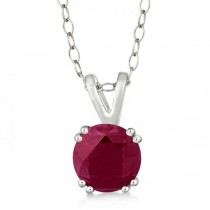 Round Ruby Solitaire Pendant Necklace Sterling Silver (1.60ct)