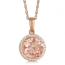 Halo Morganite & Diamond Pendant 14k Rose over Sterling Silver (2.62ct)