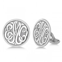 Personalized Circle Monogram Initial Cuff Links in Sterling Silver