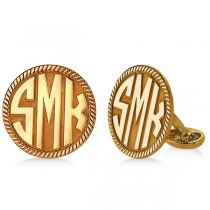 Customizable Monogram Cufflinks in Rose Gold Over Sterling Silver
