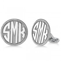 Customizable Circle Milgrain Monogram Cufflinks in Sterling Silver