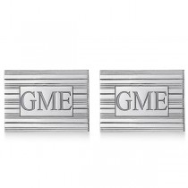 Custom Square Monogram Initial Cuff Links in Sterling Silver