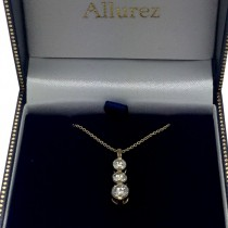 Three-Stone Graduated Diamond Pendant Necklace 14K Yellow Gold (1.05ct)