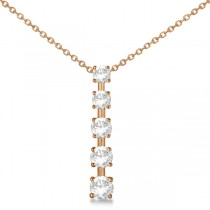 Diamond Journey Pendant with 5 Round Diamonds 14K Rose Gold 1.50ct