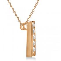 Channel Set Graduated Diamond Journey Necklace 14K Rose Gold 1.05ct