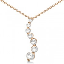 Curved Seven Stone Diamond Journey Pendant Necklace 14k R. Gold 0.50ct