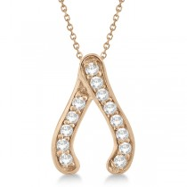 Diamond Wishbone Pendant Necklace 14k Rose Gold (0.20ct)