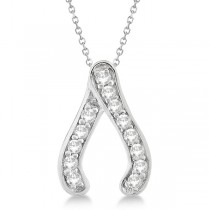Diamond Wishbone Pendant Necklace in 14k White Gold (0.20ct)