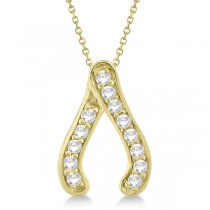 Diamond Wishbone Pendant Necklace 14k Yellow Gold (0.20ct)