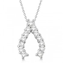 Diamond Wishbone Pendant Necklace for Women 14k White Gold (0.30ct)