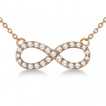Twisted Infinity Diamond Pendant Necklace 14k Rose Gold (0.50ct)