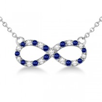 Twisted Infinity Diamond & Blue Sapphire Necklace 14k W. Gold 0.50ct