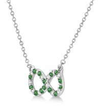 Twisted Infinity Diamond & Emerald Necklace 14k White Gold 0.50ct
