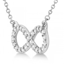 Twisted Infinity Diamond Pendant Necklace 14k White Gold (0.50ct)