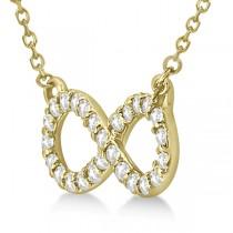 Twisted Infinity Diamond Pendant Necklace 14k Yellow Gold (0.50ct)