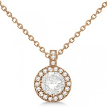 Diamond Halo Pendant Necklace Round Solitaire 14k Rose Gold (0.50ct)