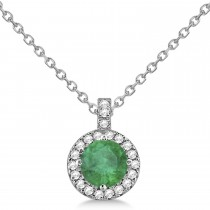 Emerald & Diamond Halo Pendant Necklace 14k White Gold (2.18ct)
