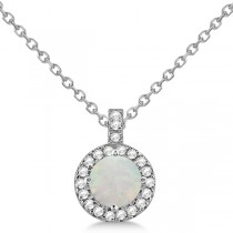 Opal & Diamond Halo Pendant Necklace 14k White Gold (1.35ct)