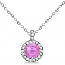 Pink Sapphire & Diamond Halo Pendant Necklace 14k White Gold (2.33ct)