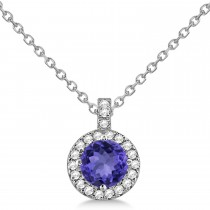 Tanzanite & Diamond Halo Pendant Necklace 14k White Gold (2.33ct)