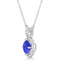 Tanzanite & Diamond Halo Pendant Necklace 14k White Gold (2.33ct)|escape