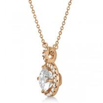 Diamond Halo Pendant Necklace Round Solitaire 14k Rose Gold (2.00ct)