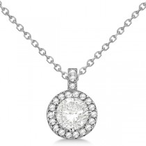 Diamond Halo Pendant Necklace Round Solitaire 14k White Gold (2.00ct)
