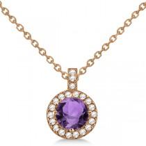 Amethyst & Diamond Halo Pendant Necklace 14k Rose Gold (0.77ct)