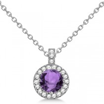 Amethyst & Diamond Halo Pendant Necklace 14k White Gold (0.77ct)