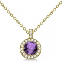 Amethyst & Diamond Halo Pendant Necklace 14k Yellow Gold (0.77ct)