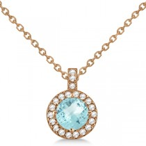 Aquamarine & Diamond Halo Pendant Necklace 14k Rose Gold (0.82ct)