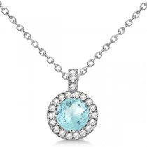 Aquamarine & Diamond Halo Pendant Necklace 14k White Gold (0.82ct)