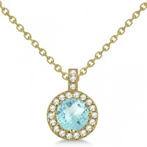 Aquamarine & Diamond Halo Pendant Necklace 14k Yellow Gold (0.82ct)