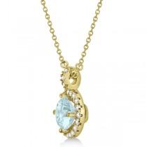 Aquamarine & Diamond Halo Pendant Necklace 14k Yellow Gold (0.82ct)